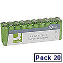 Q-Connect Super Alkaline AA Batteries XXL Pack of 20