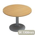 Kito Beech Meeting Room Round Table Silver Trumpet Base Dia1000xH725mm