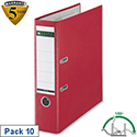 Leitz Red Plastic Lever Arch File A4 Pack 10