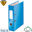 Leitz WOW Lever Arch File Blue A4 Pack 10