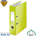Leitz WOW Lever Arch File Green A4 Pack 10