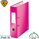 Leitz 180 Wow 80mm Metallic Pink A4 Lever Arch File Pack of 10