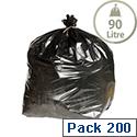 Heavy Duty Rubbish Refuse Sacks 90L (Pack 200) Black