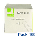 Q-Connect Jumbo Paperclip 77mm Pack 100 Round Wavy