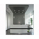 White L Shaped Solid Surface Minimalist Design Reception Unit Black Counter RD103