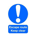 Safety Sign Escape Route Keep Clear A5 Self-Adhesive