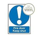 Safety Sign Fire Door Keep Shut 150x50mm Self-Adhesive Vinyl