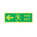 Safety Sign Niteglo Glow In The Dark Fire Exit Running Man Arrow Left 150x450mm Self-Adhesive Vinyl