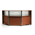 N3 Reception Desk with Acrylic Panels and Optional Corporate Logo - Walnut RD92