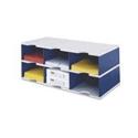 Styro 6-Compartment Jumbo Literature Organiser Grey/Blue 268-0322-38