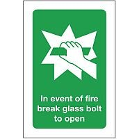 Self Adhesive Vinyl In Event Of Fire Break Glass Bolt To Open Sign