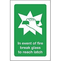 Self Adhesive Vinyl In Event Of Fire Break Glass To Reach Latch Sign