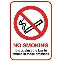 Rigid Plastic Smoking Prohibition Sign No Smoking A5 Sign