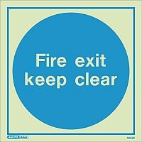 Photoluminescent Sign Fire Exit Keep Clear HxW: 150x150