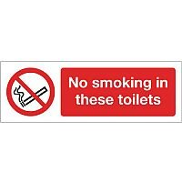 Self Adhesive Vinyl Smoking Prohibition Sign No Smoking In These Toilets