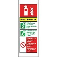 Self Adhesive Vinyl Fire Extinguisher Sign Wet Chemical