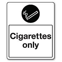 Self Adhesive Vinyl Smoking Area Sign Cigarettes Only