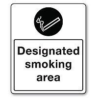 Self Adhesive Vinyl Smoking Area Sign Designated Smoking Area