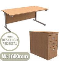 Office Desk Rectangular Silver Legs W1600mm With 800mm Deep Desk High Pedestal Beech Ashford