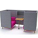 Meeting Pod TRYST 2 Seater Booth Grey & Claret STK7