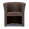 Tub Armchair Leather Look Brown Vancouver Round