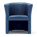 Tub Armchair Leather Look Aqua Blue Vancouver Round