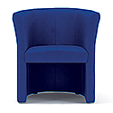 Tub Armchair Blue Fabric Vancouver Round