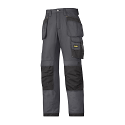 """Snickers 3213 Craftsmen Holster Pocket Trousers Rip-Stop Size 180 * 28""""/28"""" Steel Grey/Black"""