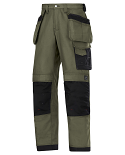 """Snickers 3214 Craftsmen Holster Pocket Trousers Canvas+ Size 180 * 28""""/28"""" Olive Green/Black"""
