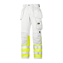 """Snickers 3234 Painters High-Vis Trousers Class 1 Size 180 * 28""""/28"""" White/Hi-Vis Yellow"""