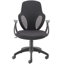 Arc Modern Design Curved Mesh Back Task Chair With Arms Black KF838831