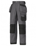 """Snickers 3214 Craftsmen Holster Pocket Trousers Canvas+ Size 180 * 28""""/28"""" Steel Grey/Black"""