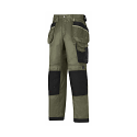 """Snickers 3212 Craftsmen 28""""/28"""" Holster Pocket Trousers DuraTwill Size 180 Olive Green/Black"""