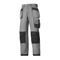 """Snickers 3213 Craftsmen Holster Pocket Trousers Rip-Stop Size 180 * 28""""/28"""" Grey/Black"""