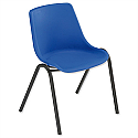 Trexus Polypropylene Stacking Chair with Black Frame Seat Seat WxDxH: 460x420x460mm Blue