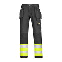 """Snickers 3235 High-Vis Holster Pocket Cotton Trousers Class 1 Size 48 33""""/32"""" Black/Hi-Vis Yellow"""