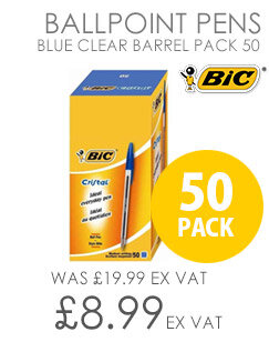 Bic Cristal Ballpoint Pen Blue Clear Barrel Pack 50