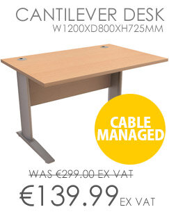 Cantilever Desk Rectangular W1200xD800xH725mm Beech Komo