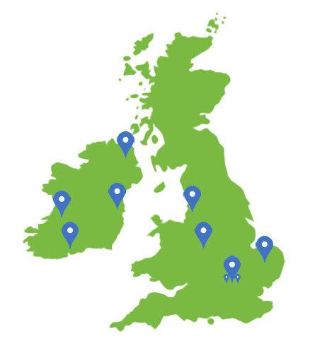 MAP of Ireland and UK