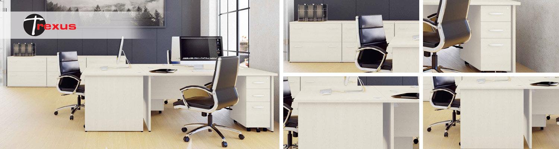 Trexus White Panel End Desking & Office Furniture Range