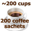 200 instant coffee sachets  pack size enough for about 200 cups