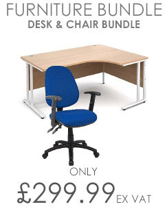 Home Office Bundle - Ashford Straight Office Desk Urban Oak W1200mm With OA Series Blue Fabric Chair & Leap White Double Monitor Arms