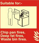 suitable for chip pan fires, deep fat fires waste bin fires