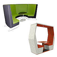 meeting pods size and seating capacity